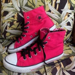 Converse high top, hot pink sneakers